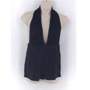 Tear n Rose Navy Halter Top Romper M